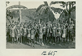 view Large Group of Men in Ceremonial War Costume Outside Pole And Thatch Long Houses 1943 digital asset number 1