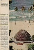 view Woman in Costume Near Round Pole and Thatch House with Woven Mat Blinds and on Beach digital asset: Woman in Costume Near Round Pole and Thatch House with Woven Mat Blinds and on Beach