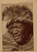 view Aged Bushman Wearing Sennec (Baboon) Hat and Blanket SEP 1936 digital asset number 1