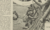 view Three Aged Bushmen Building Grass Shelter SEP 1936 digital asset number 1