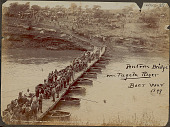 view Boer War Scene: Pontooning Ammunition Column Over River; Group of British Soldiers in Uniform and with Wagons on Pontoon Bridge (Flat- Bottom Boats Supporting Floating Wooden Bridge); Another Group of Soldiers with Horses and Wagons on Hillside Nearby digital asset: Boer War Scene: Pontooning Ammunition Column Over River; Group of British Soldiers in Uniform and with Wagons on Pontoon Bridge (Flat- Bottom Boats Supporting Floating Wooden Bridge); Another Group of Soldiers with Horses and Wagons on Hillside Nearby