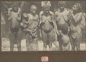 view Two Women Carrying Burden Baskets with Tumplines and Three Women, One with Keloids, and Children; All in Costume NOV 1924 digital asset number 1