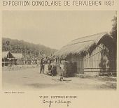 view Exposition Congolaise de Tervueren: Man in Uniform with Group in Costume Outside Reed Pole House with Thatch Roof; Raised Wooden Walkway For Spectators in Background 1897 digital asset number 1