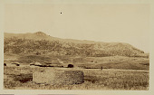 view View of Round Masonry Ruin; Village of Round Houses with Thatch Roofs and Mountains in Background n.d digital asset number 1