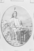 view Red Cloud in Native Dress with Breastplate and Holding Cane n.d digital asset number 1