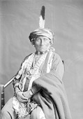 view Kansa Man Wash-shun-gah in Native Dress with George Washington Peace Medal, Hairpipe Ornaments and Headdress n.d digital asset number 1