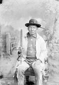 view Assiniboin man, Mnoka ? or Male ? in Partial Native Dress and Holding Pipe 1894 digital asset number 1