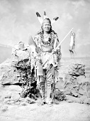 view Arikara man, Rushing Bear in Native Dress with Peace Medal, Bear Claw Necklace and Holding Staff and Fan 1880 digital asset number 1