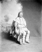 view Assiniboin ? Man in Native Dress with Ornaments and Holding Pipe? n.d digital asset number 1