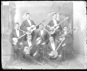 view Portrait of Group of Young Men with Guitars and Banjos 1879 digital asset number 1