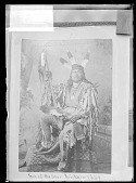 view Photo of Portrait of Chief Son-Of-The-Star in Native Dress And with Feather Headdress, Feather Fan, Pipe Bag, Scalp and Peace Medal 1879 digital asset number 1