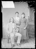 view Interpreter Edmund Guerrier with Carlisle students Susan Standing Elk, and Julia Bent ca. 1886 digital asset number 1