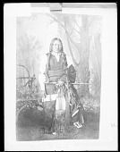 view Photo of Portrait of Chief Iron in Partial Native Dress, with Fur-Wrapped Braids, Hairpipe Choker, Pipe, and Pipe Bag n.d digital asset number 1