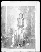 view Photo of Portrait of Chief Little Wolf in Partial Native Dress; with Fur-Wrapped Braids, Hairpipe Breastplate, Pipe, and Pipe Bag n.d digital asset number 1