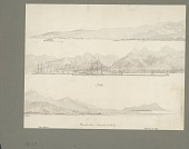 view Three Panoramic Views of Honolulu, Oahu Island, One with Diamond Head, Showing Buildings, Including Government House, and Sailing Ships Drawing/Painting digital asset: Three Panoramic Views of Honolulu, Oahu Island, One with Diamond Head, Showing Buildings, Including Government House, and Sailing Ships Drawing/Painting