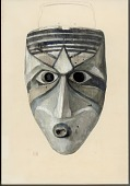 view Mask, Wood:Human:Elongated Face:Painted Chin:Oval Mouth with Protruding Lips: Long Nose:Dominant Color Gray 1896 Painting digital asset number 1