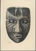 view Mask, Wood:Human: Straight-Sided Face:Rounded Chin: Open Elliptical Mouth:Straight Nose:Elliptical Eyes with Round Pupils: Grayish-Black Color, Dark Lines 1896 Painting digital asset number 1