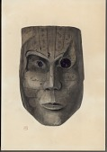 view Mask, Wood,:Human: Square-Sided Face and Chin:Pointed Nose:Central Groove on Upper Lip: Arched Eyebrows:Closed Mouth Thin Lips; Brownish-Gray Color, Painted Lines 1896 Painting digital asset number 1