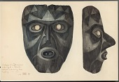 view Mask, Wood:Human:Front and Profile View: Oval Face With Square Chin:Oval Mouth:Gray, Painted Over with Black:Oval Eyes: Black Triangles Across Forehead 1896 Painting digital asset number 1