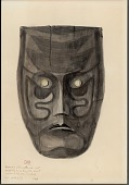 view Mask, Wood, Human: U-Shaped Face with Broad Square Chin: Scowling Mouth, Small Pointed Nose: Mongoloid Eye:Square Forehead: Brownish-Gray Color: Painted Lines 1896 Painting digital asset number 1