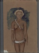 view Portrait (Front) of Young Woman with Scarification and Wearing Tapa Skirt and Ornaments Painting digital asset: Portrait (Front) of Young Woman with Scarification and Wearing Tapa Skirt and Ornaments Painting