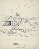 view Innuit Boy from Poonook (Punuk) Island in Costume with Toy Sled Near Shelter Over Entranceway to Sod Houses Nearby; Mountains In Distance Drawing digital asset: Innuit Boy from Poonook (Punuk) Island in Costume with Toy Sled Near Shelter Over Entranceway to Sod Houses Nearby; Mountains In Distance Drawing