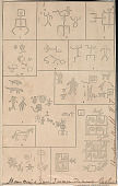 view Photograph of Drawing of Ten Pictographs (Fig 1-10) Showing Figures, Animals, Birds, and Abstract Designs (Anasazi?); And One Pictograph (Fig 11) Showing Horse (Navaho?) on Sandstone Bluff Near La Plata and San Juan Rivers, Colorado 1875 Drawing/Photomechanical/Pictograph digital asset number 1