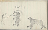 view Anonymous Plains Indian drawing of a human figure and two bears, one smoking a pipe, n.d digital asset number 1