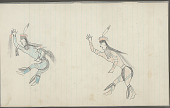 view Anonymous Plains Indian drawing of two men dancing, with one holding a scalp, n.d digital asset number 1
