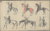 view Anonymous Plains Indian drawing of five men on horseback, and a sixth holding his horse, n.d digital asset number 1