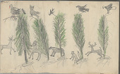 view Anonymous Plains Indian drawing of row of five trees with animals are their bases and birds perched on top, n.d digital asset number 1