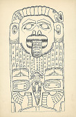 view Totem, Wood:Yellow Cedar:Bear and Bird?:Carved By Alfred Benson at Mission House, Sitka, Alaska 24 OCT 1894 Drawing digital asset number 1