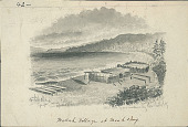 """view """"Makah Village at Neah Bay, Sketched from Nature by George Gibbs, Esq 1849 Painting digital asset number 1"""