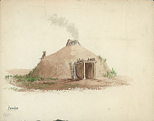 view Pawnee Earth Lodge with Post Entranceway, V-Shaped Ladder, Central Smoke Hole, and Dog on Rooftop 1881 Painting digital asset number 1
