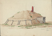 view Pawnee Earth Lodge with Post Entranceway and Man in Red Robe, Praying on Rooftop 1881 Painting digital asset number 1