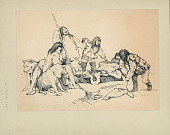 view Group of Men and Boys, Fishermen, in Costume, One with Harpoon, Loading Baby Seal Onto Sled Drawn by Four Huskies n.d. Drawing digital asset number 1
