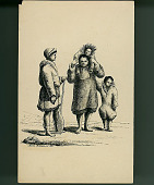 view Family Group in Costume, Man Holding Paddle n.d. Drawing digital asset number 1