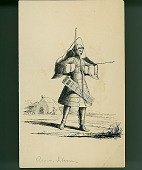 view Man Wearing Armor and Quiver and Holding Bow and Arrow; Man With Dog Near Skin Tent in Background n.d. Drawing digital asset number 1