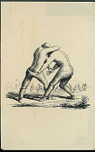 view Two Men in Costume Engaged in Wrestling Match; Group Near Skin Tents in Background n.d. Drawing digital asset number 1