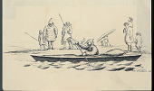 view Man in Costume and Wearing Visor Cap, Paddling Kayak on Water Near Group, One with Dog; Some with Weapons; All in Costume On Shore n.d. Drawing digital asset number 1