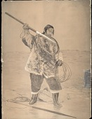 view MS 7119 Paintings made in Alaska and British Columbia digital asset: Man in Costume and Fishing with Harpoon on Ice; Second Harpoon Nearby Painting