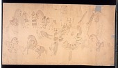 view Devil dance, and battle scene digital asset: Chiricahua Apache Devil Dance; Group in Costume with Weapons; Some On Horseback, Some Dancing, Others Sitting in Circle Drumming; Non-Native Spectators; Whole Image Outlined with Shields Drawing