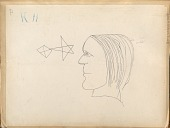view K11: Drawing Made from Petroglyph of Male Portrait in Profile And Two Geometric Designs digital asset: Drawing Made from Petroglyph of Male Portrait in Profile And Two Geometric Designs Drawing