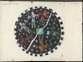 view Drypainting? Depicting Circle Containing Six Figures around Green Square on Black Ground with Stars, and with White Line Cutting Through Square and Separating Two Figures from Rest Painting digital asset: Drypainting? Depicting Circle Containing Six Figures around Green Square on Black Ground with Stars, and with White Line Cutting Through Square and Separating Two Figures from Rest Painting