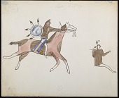 view Facsimile of Bloody Knife drawing of battle scene, with warrior with shield on horseback and fallen enemy with two strike marks over head digital asset: Facsimile of Bloody Knife drawing of battle scene, with warrior with shield on horseback and fallen enemy with two strike marks over head