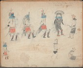 view MS 1760 Drawing of Zuni dancers wearing masks digital asset: Zuni Dancers Wearing Masks Drawing