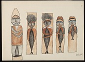 view Totem Poles Drawing digital asset: Totem Poles Drawing