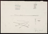 view Basket, Spear, Bow and Arrow, Knife, and Indian Figure Drawing digital asset: Basket, Spear, Bow and Arrow, Knife, and Indian Figure Drawing