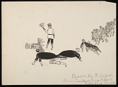 """view Children Playing """"Klukwalle""""; Figures Represent Men Watching Wolves from Salal-Brush Thicket Drawing digital asset: Children Playing """"Klukwalle""""; Figures Represent Men Watching Wolves from Salal-Brush Thicket Drawing"""