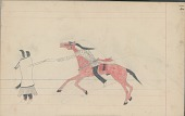 view Anonymous Cheyenne drawing of Indian man counting coup with quirt on Indian woman and child digital asset: Anonymous Cheyenne drawing of Indian man counting coup with quirt on Indian woman and child